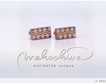wooden cuff links wood walnut maple handmade unique exclusive limited jewelry - mahoshiva k 2017-74