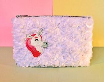 Unicorn Furry White Make-Up Bag/Pencil Case