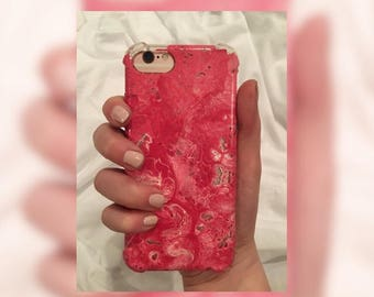 lifeart iphone case, 6, 6s, 7, hand painted by local artist, pink