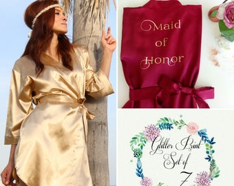 Set of 7 Bridesmaid Robes, Customized Silk Satin Bridesmaid Robes, Personalized Wedding Robes, Customized satin robe, Bridal party robe