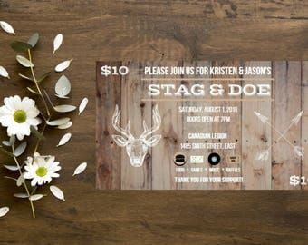 Rustic Wood Stag & Doe Ticket, Personalized Digital File