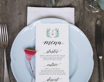 Wreath Initials Wedding Menu Printable Template 7