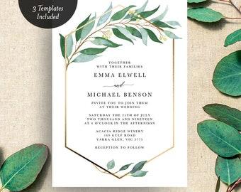 INSTANT DOWNLOAD Eucalyptus Gum Greenery Wedding Invitation Printable Template