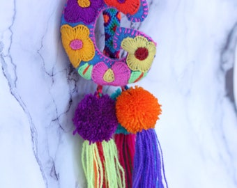 Colorful worsted borla pom-pom Luggage tag with a handmade letter of your choice