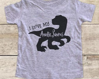 I Love my Auntie Saurus Dinosaur Birthday Shirt - Baby bodysuit or Toddler Shirt or Youth Shirt - cute birthday baby shower gift