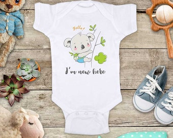 Hello I'm new here baby koala bear cute Baby bodysuit - baby shower gift baby birth pregnancy announcement