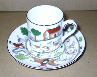 Wedgwood Hunting Scenes Coffee Can & Saucer