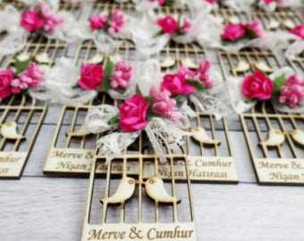 10 Wooden Bird Cage Magnet Wedding Favors - Laser Engraved Personalized Favors- Pink Favors- Save the Date Magnets- Thank you Favors