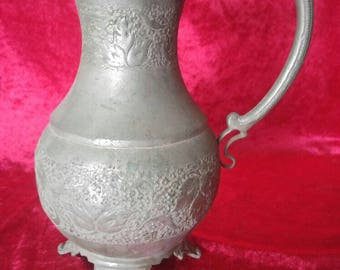 Beautiful Antique Vintage Brass Pitcher With Flower Design #1264