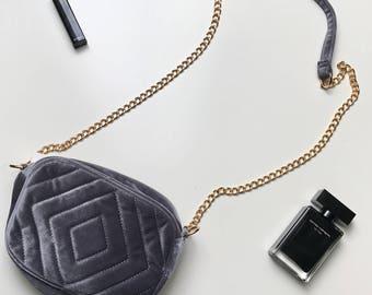 Ladies bag-shoulder bag-chic-velvet-grey