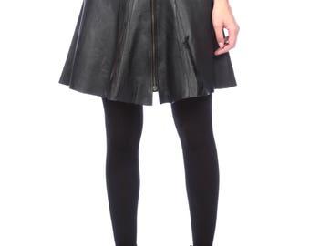 Black Leather Zips Front Skirt, Paneled Mini Leather Skirt, Leather Skirt Made to Order, for Measure