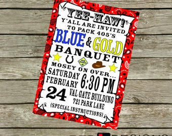 Western Blue and Gold Banquet Invitation, Digital Download, 5x7 JPEG and 8.5x11 PDF
