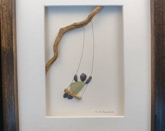 Little Swinger - Pebble and beach glass framed art