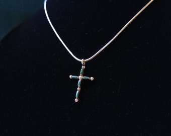 Silver and Turquoise Needle Point Cross- Southwestern Jewelry - Zuni Style Jewelry - Sterling and Turquoise – Native Style Necklace
