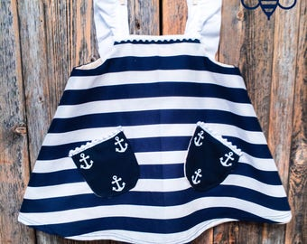 Nautical Baby Girl Dress with Adjustable Straps