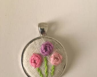 Handmade embroidered pendant
