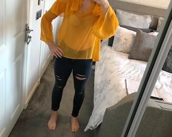 Mustard sheer ruffle detailed blouse