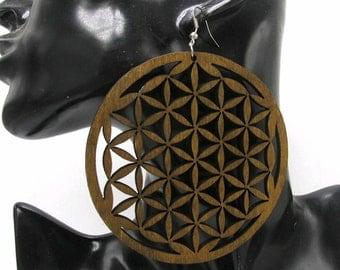 Brown circle african earrings