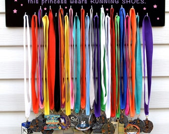 FAST SHIPPING Free Customizing Available Running Medal Display Rack S4723 Forget the glass slipper Purple and Pink