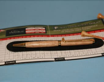 Golf ballpoint pen, Cross twist, sports theme, recycled oak, Nova Scotia Canada, Wood wooden pen, WoodsmithPens. office accessories, desk