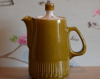 60s Vintage Denby Langley Patrician Coffee Pot - Olive Green & White