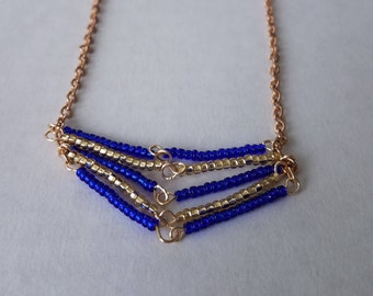 Blue and Gold Chevron
