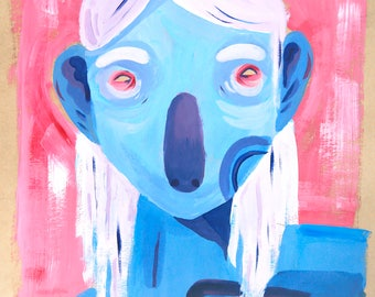 Sour And Bitter | original illustration painting artwork portrait woman mother blue red pink alien space acrylic paint art decor decoration