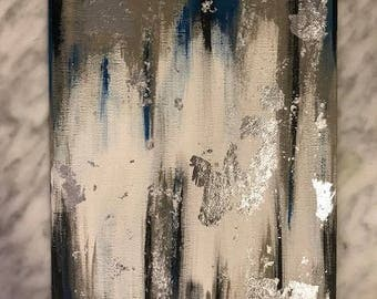Blue/Black/Grey Abstract Silver Foil Painting