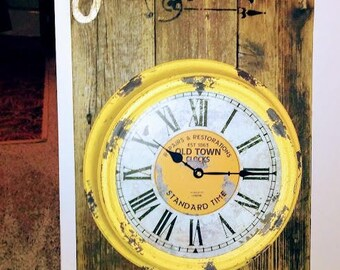 Large handcrafted barn wood clock