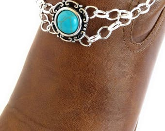 Turquoise Cabochon Western Boot Bracelet Chain