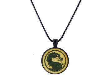 Mortal Kombat Inspired Wood and Metal Pendant Necklace Anime Level 8 Laser Cut and engraved