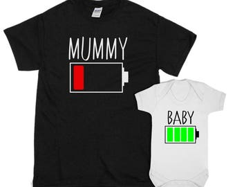 Mummy & Baby Matching T-Shirt With Baby Vest - BATTERY POWER Fathers Day Gift Present