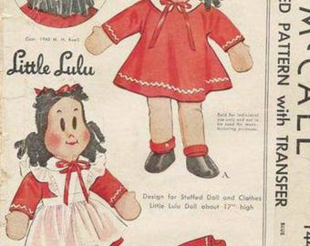 Vintage Lulu doll sewing pattern with clothes