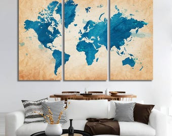 Travel World map Canvas wall art world map canvas Canvas World map Wall Art Canvas Print Wall decor Art Christmas gift Travel world map