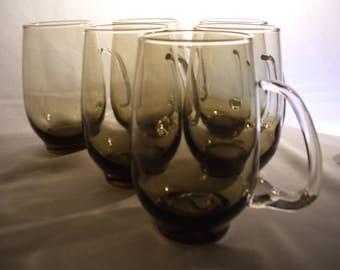 6 1970s Libby Smoked Glass Irish Coffee Mugs