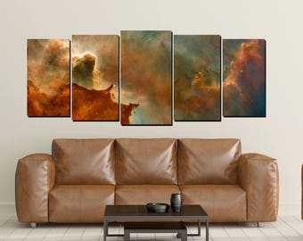 Nebula Galaxy Canvas Wall Art, Horseshoe Cosmos Universe Print, Large 5 Panel, Home Wall Decor