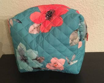 quilted floral multipurpose pouch