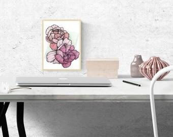 Art Print: 'Peonies' Illustration - A5