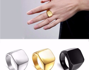 Fashion Rings Square Large Width Bookmark Rings 24K Titanium Steel Man Finger Silver Black Gold Men's Ring Jewelry anel new
