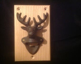 Cast iron stag head and ash wall mounted bottle opener