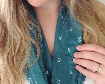 Teal Arrow Infinity Scarf - Geometric
