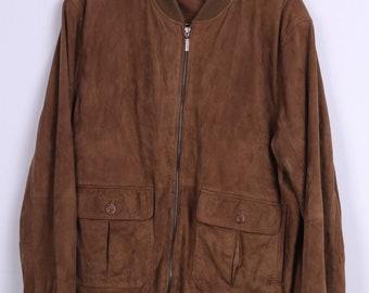 Vintage Mens 48 2XL Bomber Jacket Leather Camel Retro