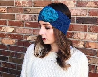 Teal Flower Cable Knit Ear Warmer   Cable Knit Ear Band   Knit Headband   Warm Headwrap   Winter Headband   AuntBarbsBands