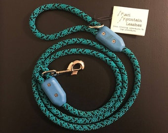 Repurposed Climbing Rope Leash - Turquoise/Black- 6ft Length
