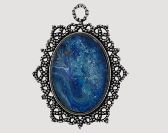 OOAK pendant, silver and blue, fluid art pendant, acrylic pouring pendant, original art, wearable painting, wearable art