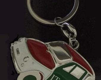 FIAT 500 Retro Chrome Key Ring Fob Keyring Gift Idea