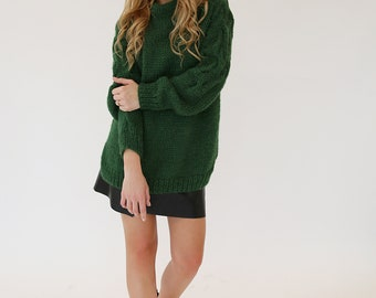 Chunky knit sweater / Alpaca wool sweater / Green women sweater / Hand knitted sweater / Cable knit / Wool pullover / Oversized sweated
