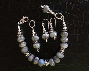 labradorite and sterling silver jewelry set