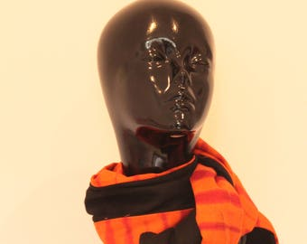 Black and orange tinted scarf