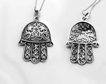 Silver pendant,Israeli Gifts,Hamsa pendant,Silver Judaica,Made in Israel,Jewish Judaica Jewelry,Amulet,Magic Hand,Tradition gift,Talisman